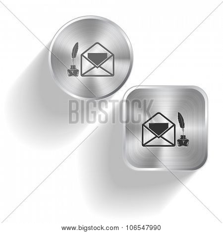 mail with feather and inkstandn. Raster set steel buttons