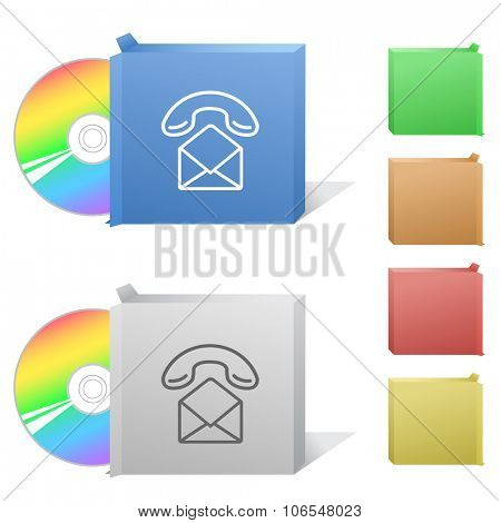 open mail with handset. Box with compact disc. Raster illustration.