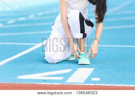 Woman Prepare For Running