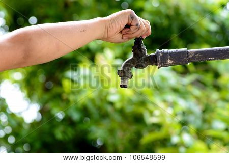Little Hand Open For Water Drop From Faucet