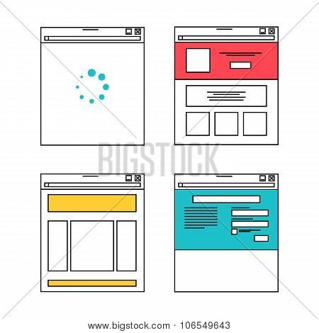 Basic Website Layout Illustrations In Flat Style