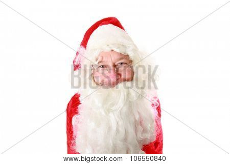 Portrait of Santa Claus. Shot with a 14mm Fish Eye Lens for a Unique View. Isolated on white with room for your text.
