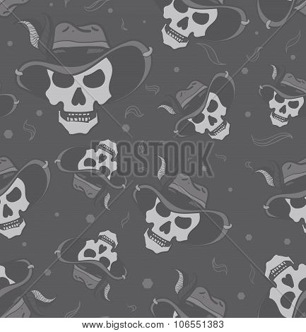 Seamless halloween cowboy skull with stylish hat.