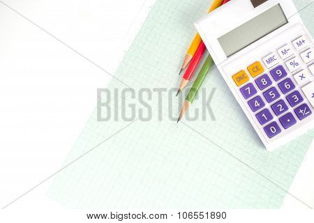Graph Paper And Calculator With Pencils