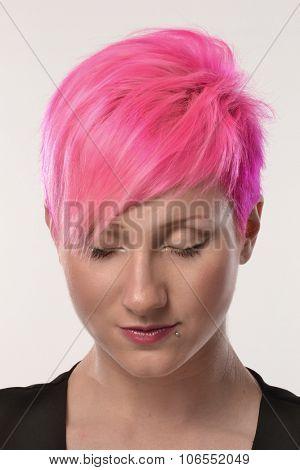 Pink hair woman portrait.