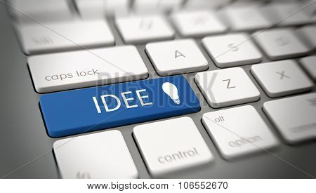 German Idee, or ideas, concept with white text - Idee - and a light bulb icon on a large blue enter key on a white computer keyboard viewed at an oblique high angle with blur vignette. 3d Rendering.