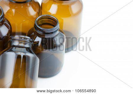Group of Brown glass medicine bottle