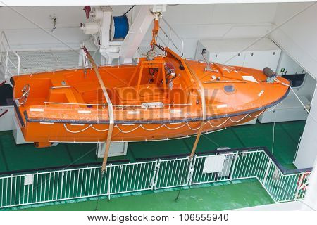 Modern Safety Lifeboat Carried By A Cruise Ship