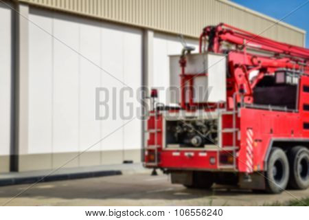 Blur Background Of Back View Of A Fire Engine