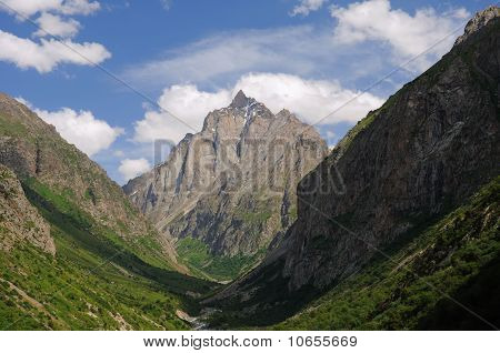 Mountain gorge and rock