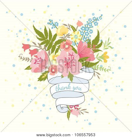 Bouquet Of Flowers And Ribbon.