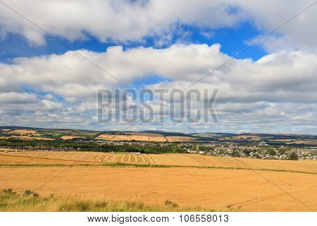 Wheat Field And Blue Sky With Clouds At Shore Line Close To North Sea, Aberdeen, Scotland, Uk