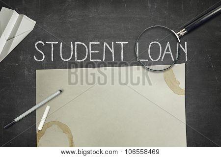 Student loan concept on blackboard