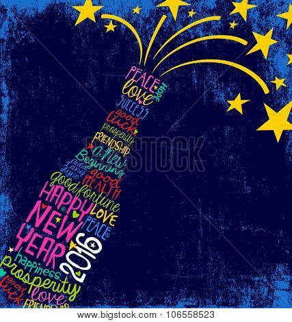 Happy New Year 2016 champagne bottle word cloud with stars