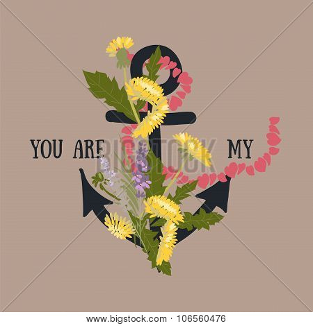 Background with flowers Dandelion and anchor