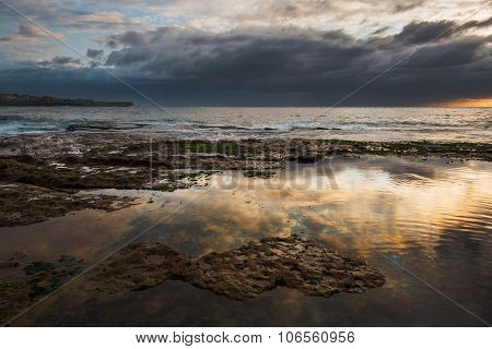 Calm ocean reflections