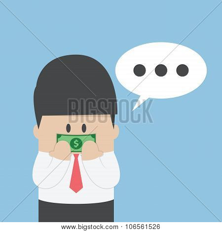 Businessman With Dollar Bill Taped On His Mouth
