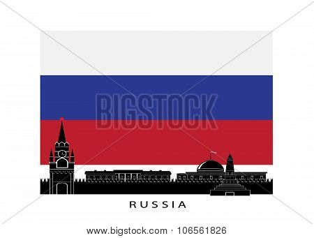 Flag of Russia and the Kremlin