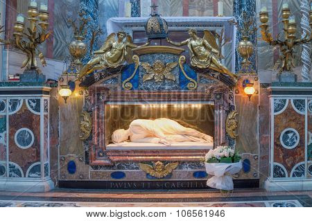Rome, Italy - October 2015 - Marble Statue Of St Cecilia On Her Tomb Under The Altar In The Basilica