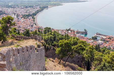 View of Nafpaktos town from the castle, Greece