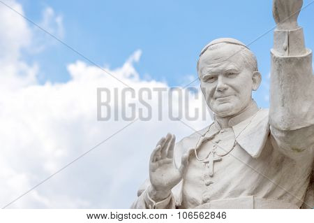 Rocca Di Papa, Italy - June 2015 - Statue Of Pope John Paul Ii Blessing People, With Cloudy Sky In T