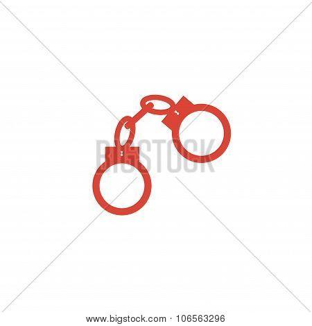 Handcuffs Icon. Flat Design Style.