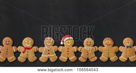 Gingerbread Men On A Blackboard