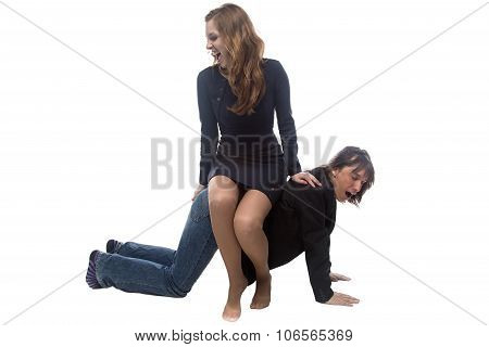 Woman sitting on man in jacket