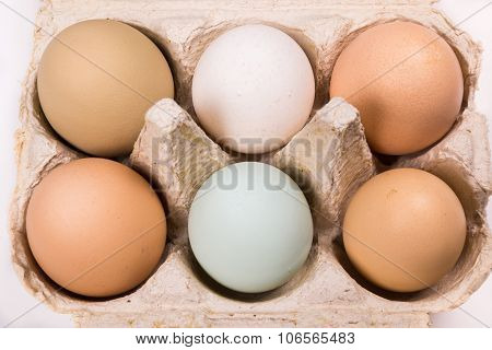 Six Eggs In Different Colors And Sizes In An Egg Box