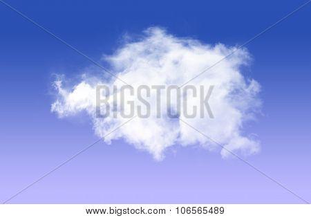 Single Cloud Over Blue Sky Background