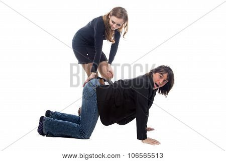 Woman hitting man in black jacket