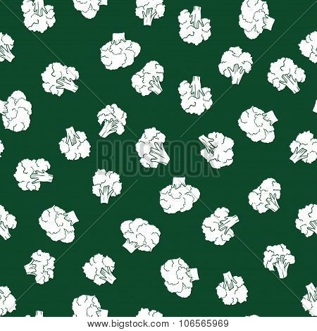 broccoli seamless patternon the green backdrop
