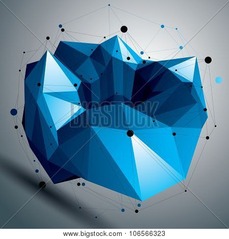 Spatial Vector Colorful Digital Object Isolated, 3D Technology Figure With Geometric Elements.