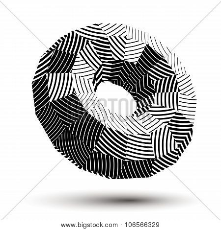 Abstract Asymmetric Vector Monochrome Stripy Object, Complicated Geometric Shape With Parallel Lines