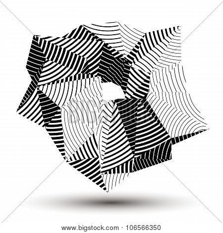 3D Vector Abstract Technology Illustration, Geometric Unusual Stripy Object. Origami Grayscale Three