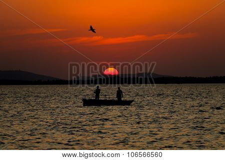 Sunset Fishing Silhouette