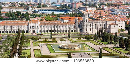 The Jeronimos Monastery Aerial View In Lisbon, Portugal