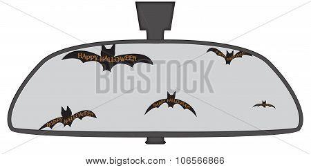 Halloween Bats In Rear View Mirror