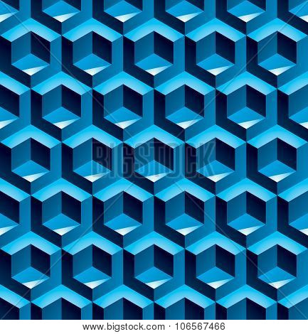 Futuristic Continuous Pattern, Illusive Motif Abstract Background With 3D Geometric shapes