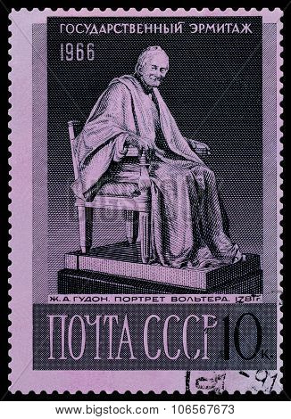 Stamp. Statue Of Voltaire.