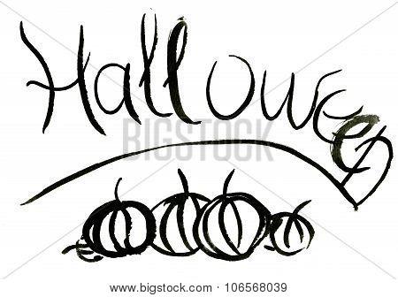 Abstract Hand-written Halloween Watercolour