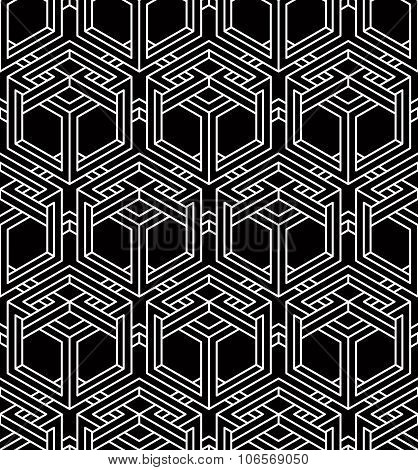 Illusive Continuous Monochrome Pattern, Decorative Abstract Background With 3D Geometric Figures.