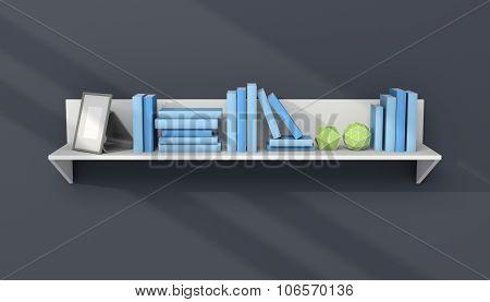3d rendered modern bookshelf.