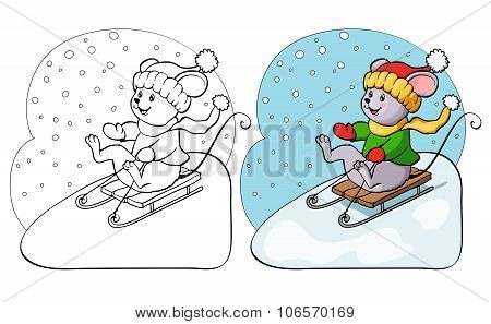 Coloring Book Or Page. Fanny Mouse On Sled.