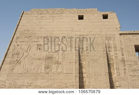 Egyptian Hieroglyphics On A Large Temple Wall