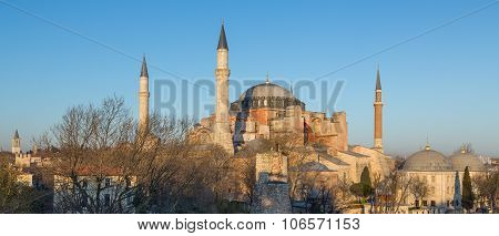 top of Hagia Sophia cathedral at dusk
