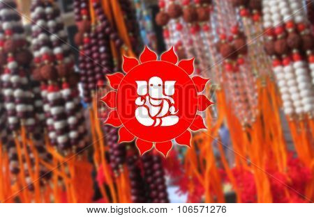 Lord Ganesha on Rudraksha BG, Hindu Devotional