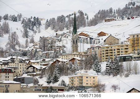 View to the buildings of St. Moritz, Switzerland.