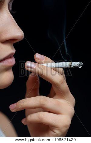 Unhealthy girl smoking
