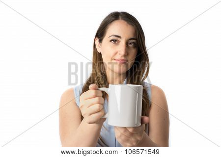 Woman offering a cup of coffee